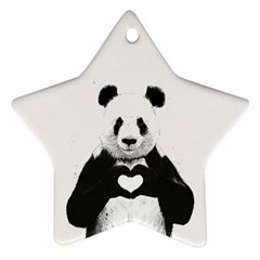 Panda Love Heart Star Ornament (two Sides)