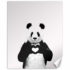 Panda Love Heart Canvas 16  X 20