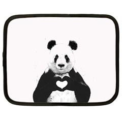 Panda Love Heart Netbook Case (Large)