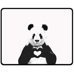 Panda Love Heart Fleece Blanket (medium)