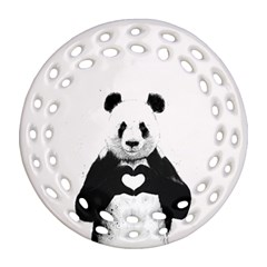 Panda Love Heart Round Filigree Ornament (Two Sides)
