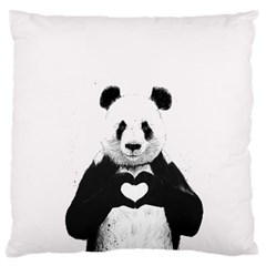 Panda Love Heart Large Cushion Case (One Side)
