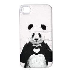 Panda Love Heart Apple Iphone 4/4s Hardshell Case With Stand