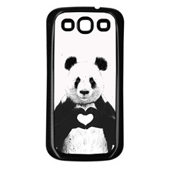 Panda Love Heart Samsung Galaxy S3 Back Case (Black)