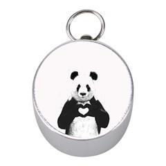 Panda Love Heart Mini Silver Compasses