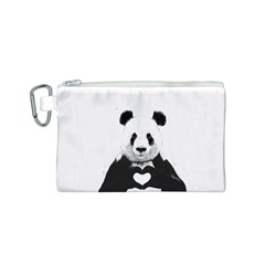 Panda Love Heart Canvas Cosmetic Bag (S)