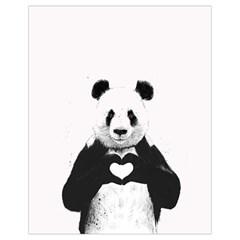 Panda Love Heart Drawstring Bag (Small)