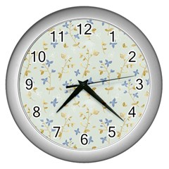 Vintage Hand Drawn Floral Background Wall Clocks (Silver)