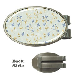 Vintage Hand Drawn Floral Background Money Clips (Oval)