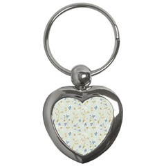 Vintage Hand Drawn Floral Background Key Chains (Heart)