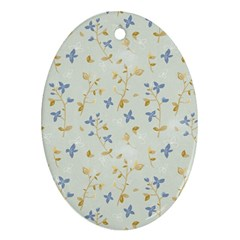 Vintage Hand Drawn Floral Background Oval Ornament (Two Sides)