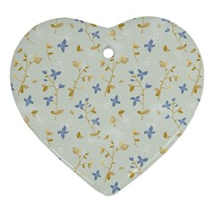 Vintage Hand Drawn Floral Background Heart Ornament (Two Sides)