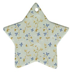 Vintage Hand Drawn Floral Background Star Ornament (Two Sides)