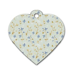 Vintage Hand Drawn Floral Background Dog Tag Heart (One Side)
