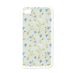 Vintage Hand Drawn Floral Background Apple iPhone 4 Case (White)