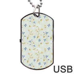 Vintage Hand Drawn Floral Background Dog Tag USB Flash (Two Sides)