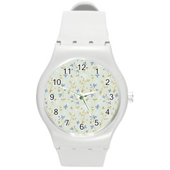 Vintage Hand Drawn Floral Background Round Plastic Sport Watch (M)