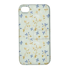 Vintage Hand Drawn Floral Background Apple iPhone 4/4S Hardshell Case with Stand