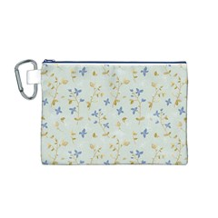 Vintage Hand Drawn Floral Background Canvas Cosmetic Bag (M)