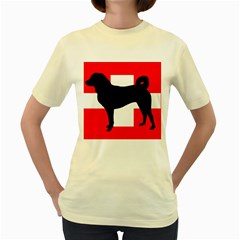 Appenzeller Sennenhund Silo Switzerland Flag Women s Yellow T-Shirt