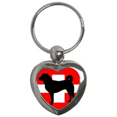 Appenzeller Sennenhund Silo Switzerland Flag Key Chains (Heart)