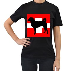 Appenzeller Sennenhund Silo Switzerland Flag Women s T-Shirt (Black) (Two Sided)