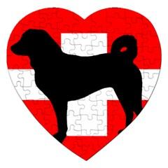 Appenzeller Sennenhund Silo Switzerland Flag Jigsaw Puzzle (Heart)