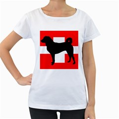 Appenzeller Sennenhund Silo Switzerland Flag Women s Loose-Fit T-Shirt (White)