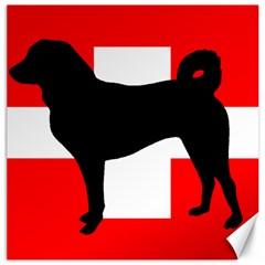 Appenzeller Sennenhund Silo Switzerland Flag Canvas 12  x 12