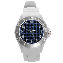 CIR1 BK-MRBL BL-STONE (R) Round Plastic Sport Watch (L)