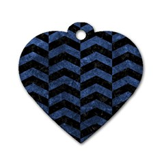 Chevron2 Black Marble & Blue Stone Dog Tag Heart (two Sides)
