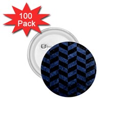 Chevron1 Black Marble & Blue Stone 1 75  Button (100 Pack)