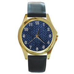 BRK2 BK-MRBL BL-STONE (R) Round Gold Metal Watch