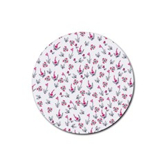 Heart Ornaments And Flowers Background In Vintage Style Rubber Coaster (Round)