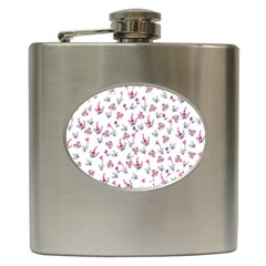 Heart Ornaments And Flowers Background In Vintage Style Hip Flask (6 oz)