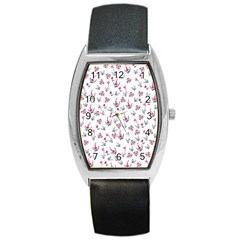 Heart Ornaments And Flowers Background In Vintage Style Barrel Style Metal Watch