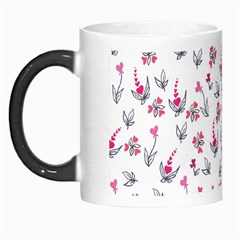 Heart Ornaments And Flowers Background In Vintage Style Morph Mugs