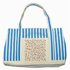 Heart Ornaments And Flowers Background In Vintage Style Striped Blue Tote Bag