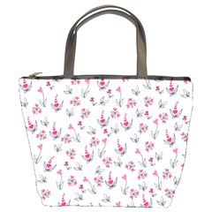 Heart Ornaments And Flowers Background In Vintage Style Bucket Bags