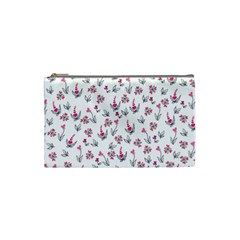 Heart Ornaments And Flowers Background In Vintage Style Cosmetic Bag (Small)
