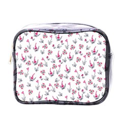 Heart Ornaments And Flowers Background In Vintage Style Mini Toiletries Bags