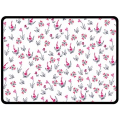 Heart Ornaments And Flowers Background In Vintage Style Fleece Blanket (Large)