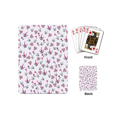Heart Ornaments And Flowers Background In Vintage Style Playing Cards (Mini)