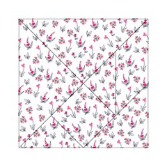 Heart Ornaments And Flowers Background In Vintage Style Acrylic Tangram Puzzle (6  x 6 )