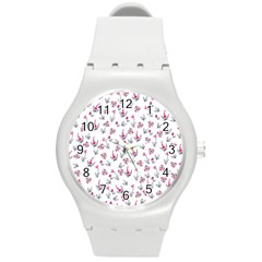 Heart Ornaments And Flowers Background In Vintage Style Round Plastic Sport Watch (M)