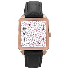 Heart Ornaments And Flowers Background In Vintage Style Rose Gold Leather Watch
