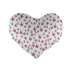 Heart Ornaments And Flowers Background In Vintage Style Standard 16  Premium Flano Heart Shape Cushions