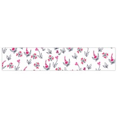 Heart Ornaments And Flowers Background In Vintage Style Flano Scarf (Small)
