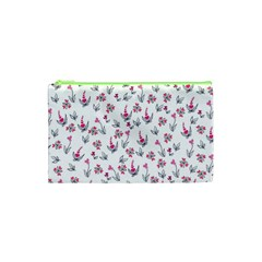 Heart Ornaments And Flowers Background In Vintage Style Cosmetic Bag (xs)