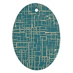 Hand Drawn Lines Background In Vintage Style Oval Ornament (Two Sides) Back